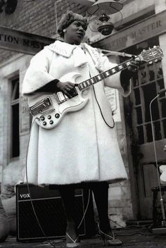 Sister Rosetta Tharpe in Manchester, 1964. [Get Sister Rosetta Tharpe's Music Here] [Listen to Sister Rosetta Tharpe sing and shred on guitar here.]  Sister Rosetta Tharpe was born in Cotton Plant, Arkansas on March 20th, 1915.  Happy Birthday, Sister Rosetta Tharpe!