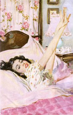 Good morning, lovely lady! always stretch before getting out of bed, pert, painted nails towards the ceiling ladies!