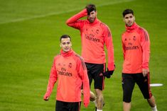 Lucas Vazquez of Real Madrid, Sergio Ramos of Real Madrid, Marco Asensio of Real Madrid during the Training Real Madrid at the Johan Cruijff Arena on February 2019 in Amsterdam Netherlands Get premium, high resolution news photos at Getty Images Real Madrid Players, Adidas Jacket, Graphic Sweatshirt, February 12, Amsterdam Netherlands, Armors, Sweatshirts, David, Training