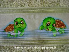 Pintura em Tecido e Artesanato: Tartarugas...Pintura em Toalha Infantil