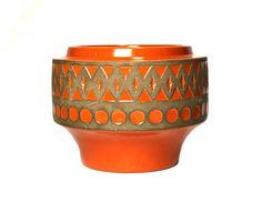 Upsala Ekeby orange bowl. signed Mari Simmulson. by porchandparlor