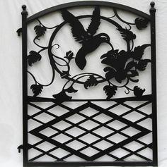 Ornamental Wrought Iron Garden Fence Entrance Gate Hummingbird Flowers Custom Design on Etsy, $299.00