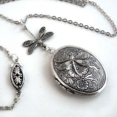Etched Silver Locket  Flight of the Dragonfly door TrashAndTrinkets
