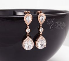 Rose Gold Bridal Earrings Wedding Jewelry by SeraphineCreations