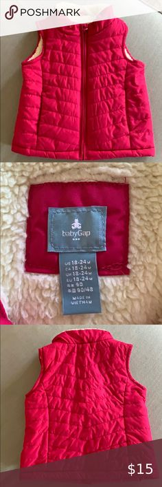 Sweety Girls Quilted Sherpa Vest Lightweight Soft Warm Pink Red Outerwear