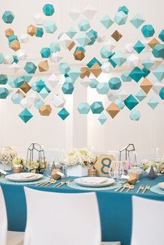 Mid-Century Geometric Wedding Inspiration teal, mint, and gold weddings - photo by Hayley Rae Photog Event Themes, Wedding Themes, Event Decor, Wedding Centerpieces, Wedding Table, Diy Wedding, Wedding Makeup, Wedding Ideas, Wedding Blog