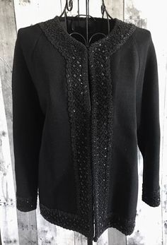 Vintage 1950s Beaded Sequin Knit Jacket Cardigan Sweater Top Black Size Large #Unbranded #Jacket