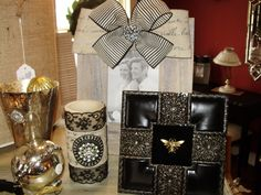 Barnwood Upcycled frame, Embellished LED Candles, and Upcycled Vintage Jewelry as Art- all at The French Bee of Kirkwood