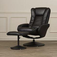 Alcott Hill Leather Heated Reclining Massage Chair & Ottoman Set & Reviews   Wayfair