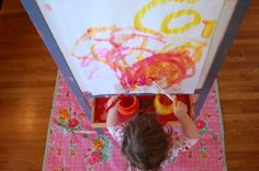 10 STEPS FOR EASY INDOOR EASEL PAINTING ---- one year old painting at the easel