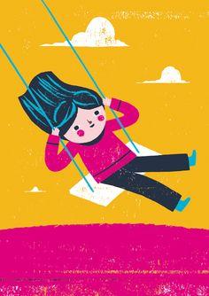 swinging girl illustration