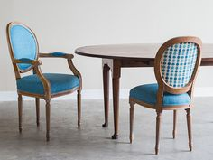 A Set Of Oval Back Louis XVI Style Dining Chairs With Painted Finish From France Now Custom Upholstered In Turquoise Linen Please Notice The Elegant