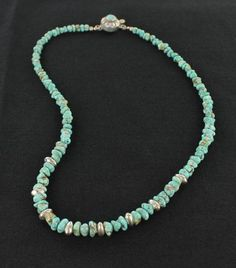 CARICO LAKE TURQUOISE BEADS NECKLACE SKY BLUE STERLING SILVER from New World Gems