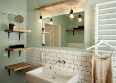 Trendy, young look! The bathroom radiates joie de vivre and enterprising from # Trendy, young look! The bathroom radiates joie de vivre and enterprising Bad Inspiration, Bathroom Inspiration, Interior Inspiration, Bathroom Fixtures, Bathroom Lamps, Bathroom Wall, Bathroom Ideas, My New Room, Small Bathroom