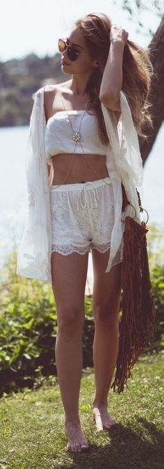 #summer #shorts #trend #outfitideas |White Lace Relaxed High Waisted Shorts                                                                             Source