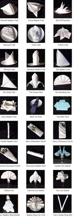 This will come in handy during your holiday events! Click on a napkin design below for detailed folding instructions.