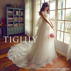 【楽天市場】ウェディングドレス_ウエディングドレス_Aライン_エンパイア(w2007)TIGLILY:ブライダルアモーレ