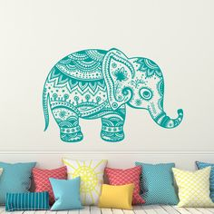 Elephant Wall Decal Vinyl Stickers Floral Patterns Yoga Decals Home Decor Indie Boho Bedding Nursery Bedroom Dorm Design Interior Art x107 by WallxDecal on Etsy https://www.etsy.com/listing/271230389/elephant-wall-decal-vinyl-stickers