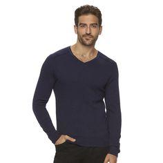 Men's Marc Anthony Slim-Fit Solid Cashmere-Blend V-Neck Sweater, Size: XXL, Drk Purple