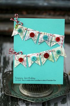 Happy Birthday with a map banner  handmade card by nkatdesigns, $1.99
