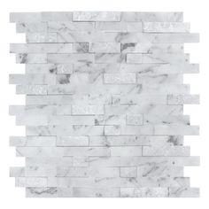 Stone Mosaic Tile, Mosaic Wall Tiles, Travertine Tile, Marble Mosaic, Carrara Marble, Marble Wall, Peel N Stick Backsplash, Peel And Stick Tile, Stick On Tiles