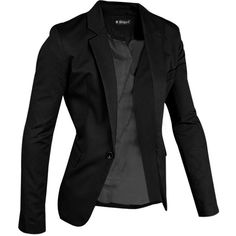 Allegra K Men Notched Lapel Center-Vent Back One-Button Blazer ($17) ❤ liked on Polyvore featuring men's fashion, men's clothing and men's sportcoats