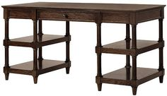 Open shelved desk for living room, just add accessories and sea grass baskets for storage. $449.00