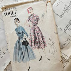 Hey, I found this really awesome Etsy listing at https://www.etsy.com/uk/listing/247953513/50s-vogue-dress-sewing-patterns-7588