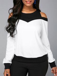 Long Sleeve Cold Shoulder Patchwork Sweatshirt Women Clothes For Cheap, Collections, Styles Perfectly Fit You, Never Miss It! Cold Shoulder Sweatshirt, Trendy Tops For Women, Printed Sweatshirts, Fashion Sweatshirts, White Long Sleeve, Short Sleeve Blouse, Fashion Outfits, Womens Fashion, Fashion Clothes