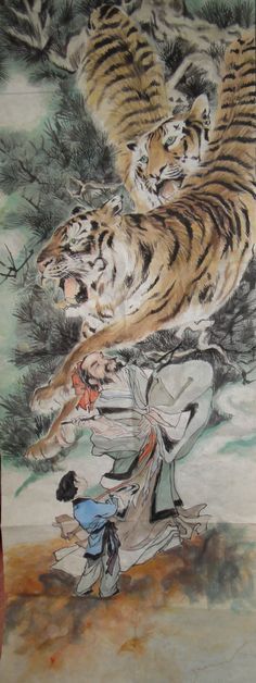 Chinese painting tiger by aile6gallery - even more powerful, as the old saying goes to:Finishing tough.The old man was drawing paintings of tigers,and the two tigers were so vivid that they were just like brave guardians flying from the heavens. What made them looked more powerful was that they seemed to have wings and were sent from the God. This painting implies a good fortune of career. Tiger Stencil, Tiger Love, Tiger Art, China Art, Chinese Painting, Magazine Art, Cool Artwork, Japanese Art, Cat Art