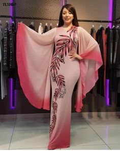 New African Dresses for Women Dashiki Print African Clothes Bazin Riche Sexy Slim Ruffle Sleeve Long Africa Maxi Dress Woman African Blouses, African Lace Dresses, Latest African Fashion Dresses, African Dresses For Women, African Attire, African Print Fashion, Kaftan Designs, Classy Dress, Boutique