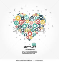 Abstract heart with gears