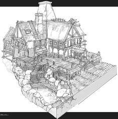 Source: Feng Zhu Design: Nice Line Work Game Design, Prop Design, Environment Sketch, Environment Design, Building Drawing, Building Concept, Fantasy Map, 3d Drawings, Environmental Art