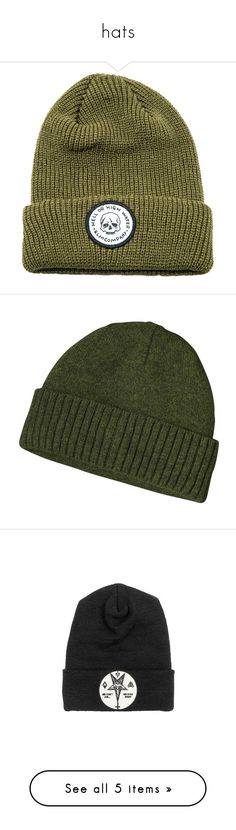 """hats"" by nogardea on Polyvore featuring men's fashion, men's accessories, men's hats, hats, beanies, olive, mens beanie hats, men's brimmed hats, accessories and headwear"