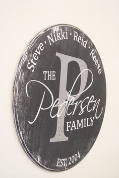 """This is a wood sign that measures 20"""" round. The background is Charcoal. Initial is Gray. Other lettering is White. This piece is handpainted and sanded for a distressed/vintage look. It is then sealed with a water based finish. The back is left unfinished and comes ready to hang."""