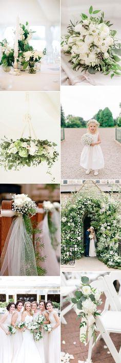 All white spring wedding flowers for beautiful wedding inspiration - GS Inspiration - Glitzy Secrets #weddingflowers