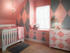 Gorgeous and Colorful Design Ideas Using Paint and Painter's Tape: Looking for a color scheme and painted design that will grow with your little one? Choose the timeless harlequin in pink and gray on the main wall to create a space that won't need to change for years.        Courtesy of FrogTape® From DIYnetwork.com