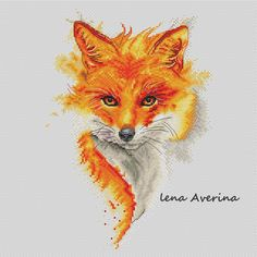 "Cross stitch design ""Fire Fox"" #sa_stitch #sa_pattern #pattern"