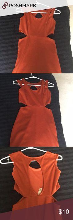 Cute Burnt Orange Cutout Dress Size = XS/S Dresses Mini