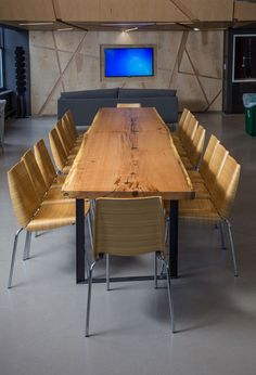 This contemporary office space warmed right up with the addition of a custom Red Oak conference table. Trees milled and table fabricated by RECO BKLYN.