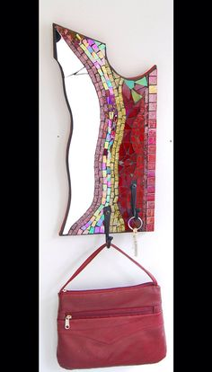 Mosaic hook made with stained glass and mirror on by AtelierGrada