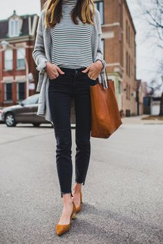 black and white striped shirt, grey cardigan, black jeans, small heel |neutral outfit ideas | spring/fall outfit
