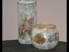 DIY:ΓΥΑΛΙΝΟ ΒΑΖΑΚΙ ΜΕ ΝΤΕΚΟΥΠΑΖ - YouTube Decoupage, Diy And Crafts, Glass Vase, Jar, Youtube, Home Decor, Bricolage, Decoration Home, Room Decor