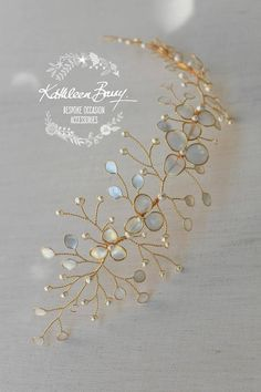 Gold Champagne Bridal hair vine iridescent pearl leaves Gold