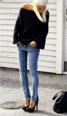 Lovely street style fashion with denim and oversized black
