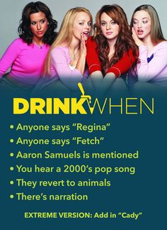 This Mean Girls Drinking Game is so Fetch. Aaron Samuels is mentioned, You hear a pop song, They revert to animals. game, Mean Girls Drinking Game Mean Girls Drinking Game, Tv Show Drinking Games, Christmas Drinking Games, Drinking Games For Parties, Christmas Games, Christmas Holidays, Mean Girls Party, Alcohol Games, Alcohol Drink Recipes