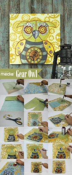 Mixed Media Gear Owl -- Surprise a teen or craftsman in your life with this mixed media canvas. #mixedmedia #decoartmedia #decoartprojects