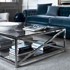 This large glass and metal coffee table suits both modern and classic homes. Explore the architectural Manhattan collection online or in store. Coffee Tables Uk, Square Glass Coffee Table, Glass Table, Living Room Update, Living Room Decor, Gray Interior, Home Interior Design, Manhattan Glass, Large Family Rooms