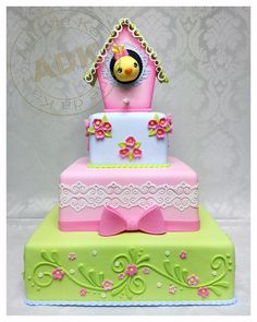 they are so cute cakes Girly Cakes, Fancy Cakes, Cute Cakes, Torta Candy, Bird Cage Cake, Spring Cake, Novelty Cakes, Birthday Cake Girls, Gorgeous Cakes