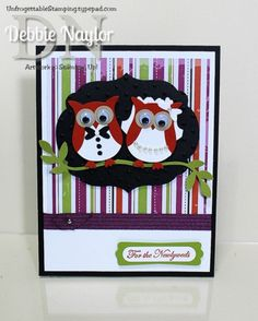 Unfrogettable Stamping | Halloween bride and groom owl punch art wedding card  http://unfrogettablestamping.typepad.com/my_weblog/2014/10/halloween-bride-and-groom-owl-punch-art.html